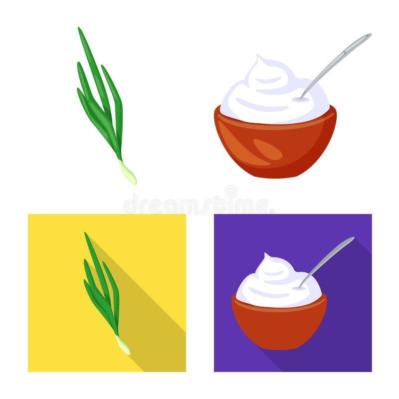 Vectorontwerp van smaak en productsymbool Reeks van smaak en kokend voorraadsymbool voor Web stock illustratie