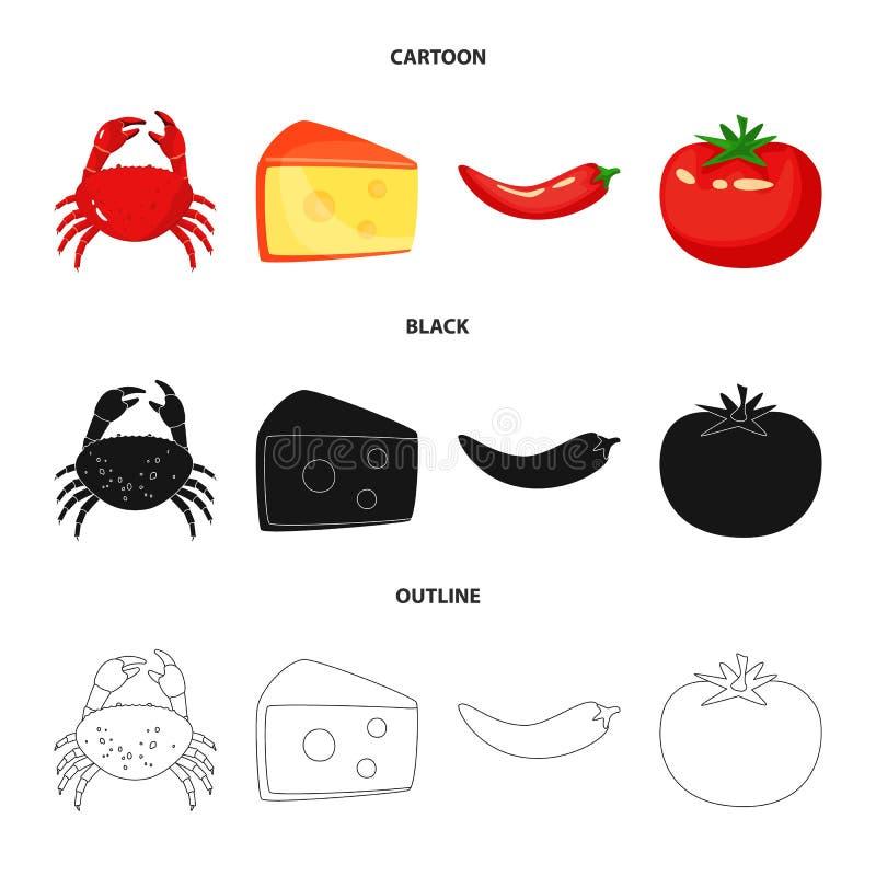 Vectorontwerp van smaak en productteken Inzameling van smaak en kokend voorraadsymbool voor Web stock illustratie