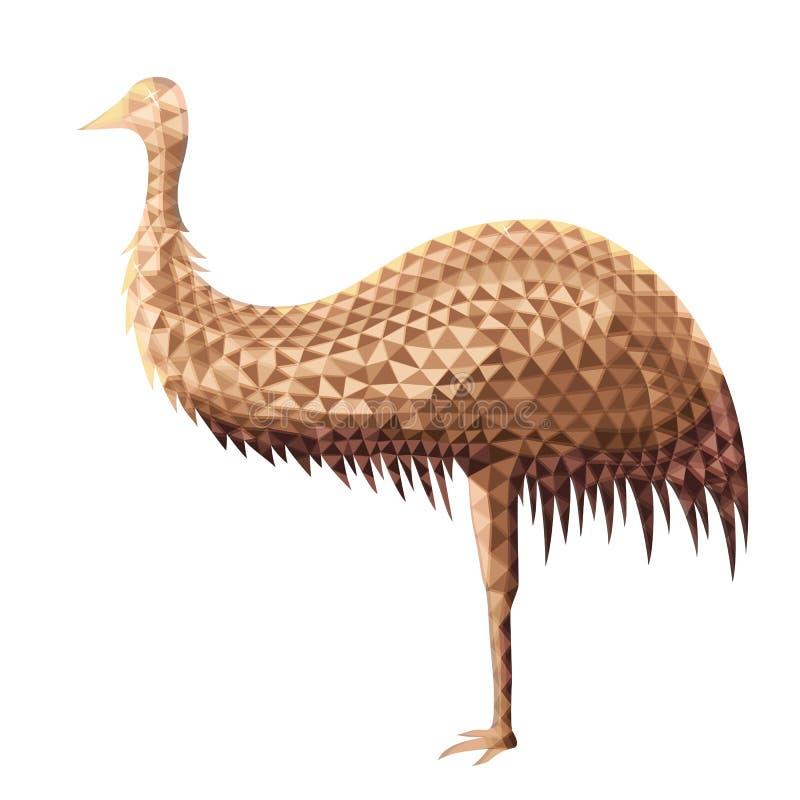 Vectorontwerp van struisvogel in lage polystijl stock illustratie