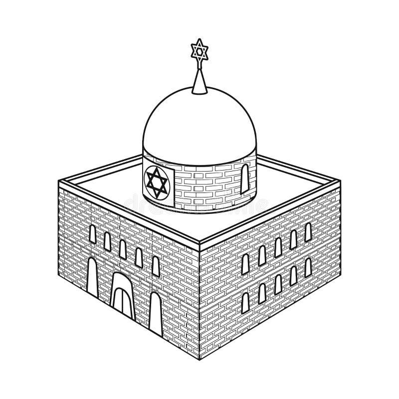 Vectorontwerp van synagoge en judaismteken Inzameling van synagoge en Joods voorraadsymbool voor Web royalty-vrije illustratie