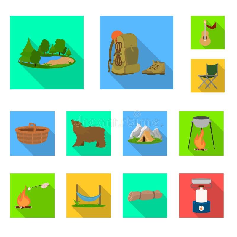 Vectorontwerp van toerisme en excursiespictogram Inzameling van toerisme en rust voorraad vectorillustratie vector illustratie