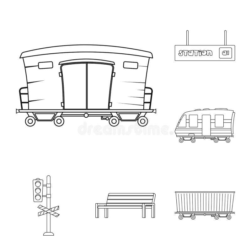 Vectorontwerp van trein en postteken Inzameling van trein en kaartjesvoorraad vectorillustratie royalty-vrije illustratie