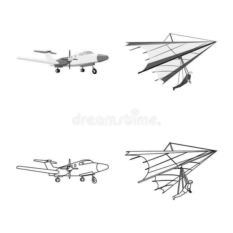 Vectorontwerp van vliegtuig en vervoerembleem Inzameling van vliegtuig en de vectorillustratie van de hemelvoorraad stock illustratie