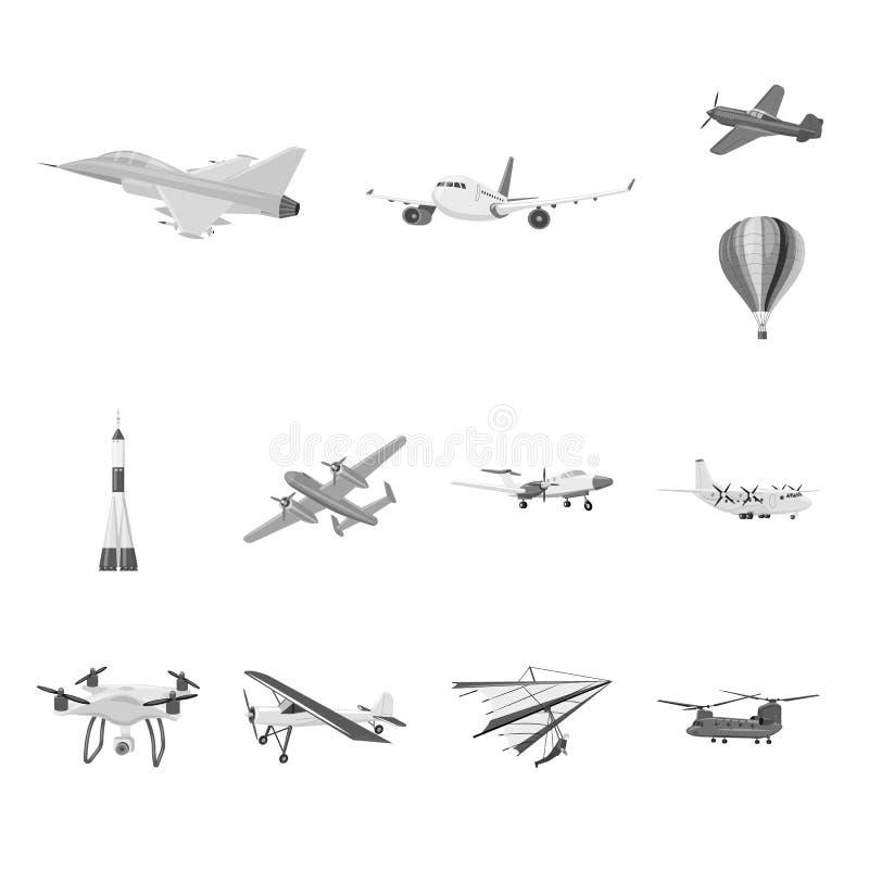 Vectorontwerp van vliegtuig en vervoerembleem Reeks van vliegtuig en de vectorillustratie van de hemelvoorraad royalty-vrije illustratie