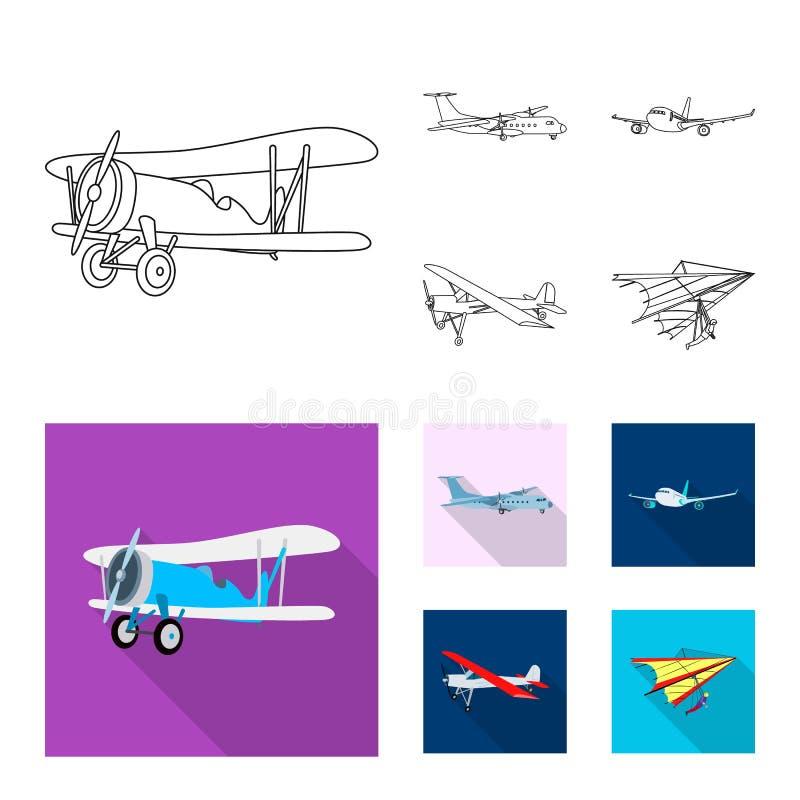 Vectorontwerp van vliegtuig en vervoerembleem Reeks van vliegtuig en hemel vectorpictogram voor voorraad vector illustratie