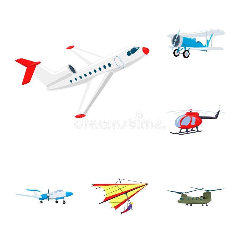 Vectorontwerp van vliegtuig en vervoerembleem Reeks van vliegtuig en hemelvoorraadsymbool voor Web stock illustratie