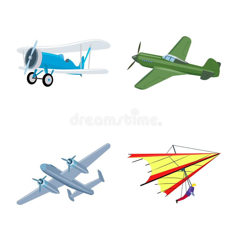 Vectorontwerp van vliegtuig en vervoerpictogram Inzameling van vliegtuig en hemelvoorraadsymbool voor Web vector illustratie