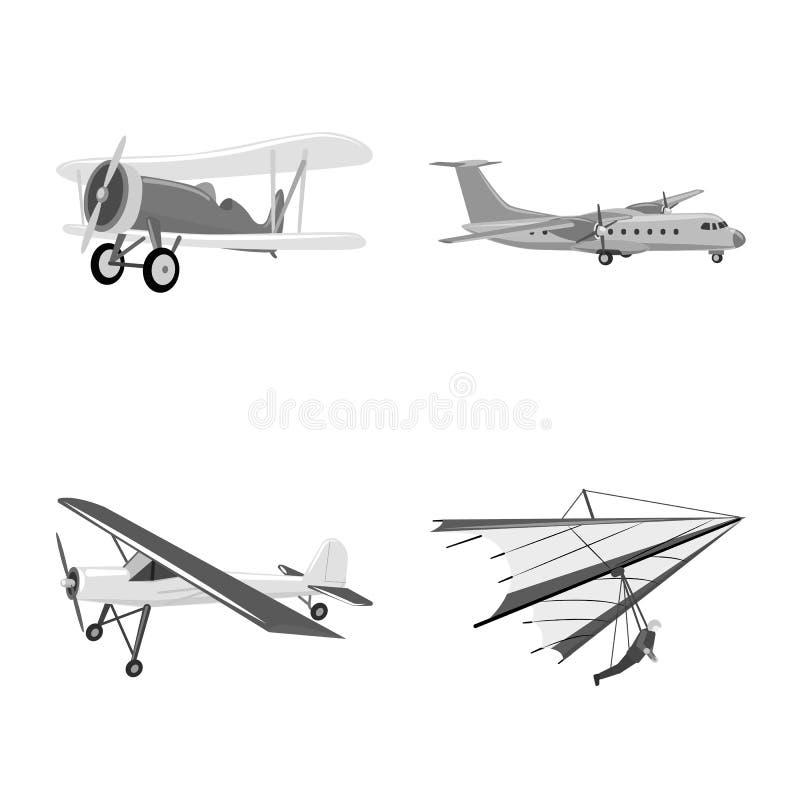 Vectorontwerp van vliegtuig en vervoerpictogram Reeks van vliegtuig en de vectorillustratie van de hemelvoorraad stock illustratie