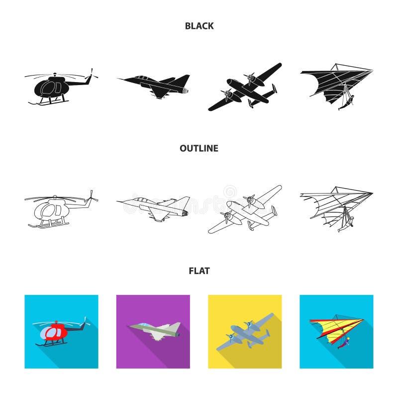 Vectorontwerp van vliegtuig en vervoerpictogram Reeks van vliegtuig en de vectorillustratie van de hemelvoorraad vector illustratie