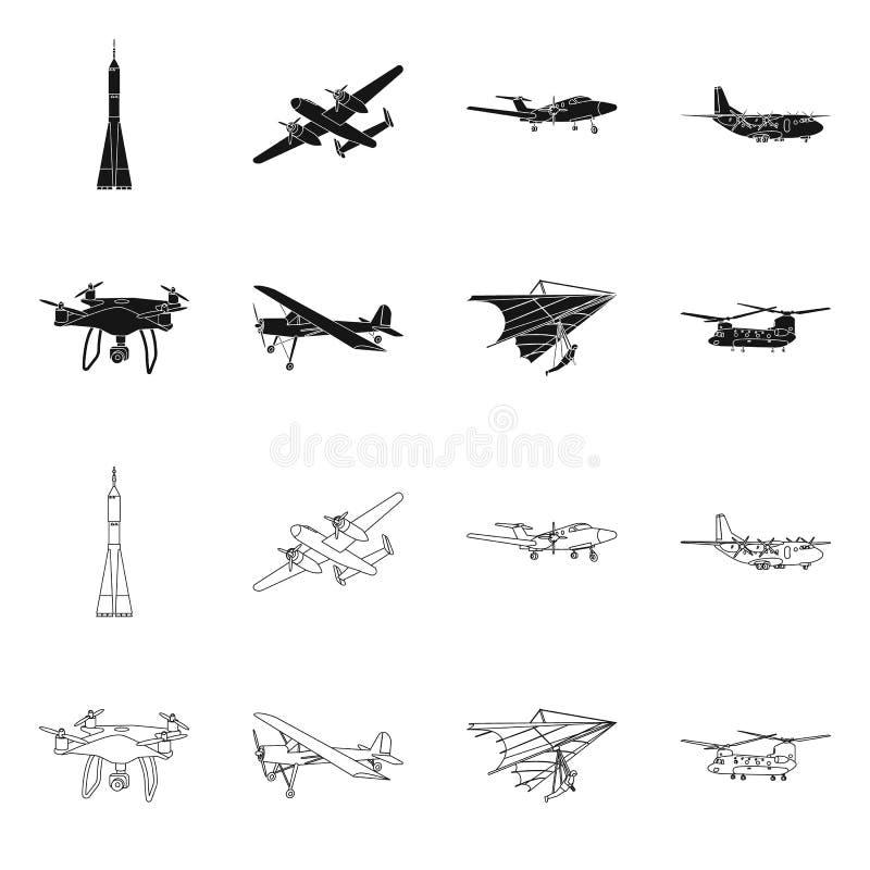 Vectorontwerp van vliegtuig en vervoerpictogram Reeks van vliegtuig en hemelvoorraadsymbool voor Web royalty-vrije illustratie