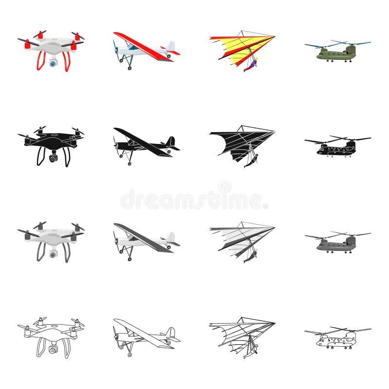 Vectorontwerp van vliegtuig en vervoerpictogram Reeks van vliegtuig en hemelvoorraadsymbool voor Web vector illustratie