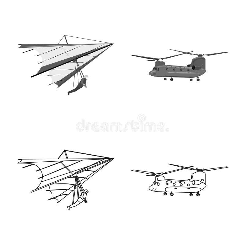 Vectorontwerp van vliegtuig en vervoersymbool Inzameling van vliegtuig en de vectorillustratie van de hemelvoorraad royalty-vrije illustratie