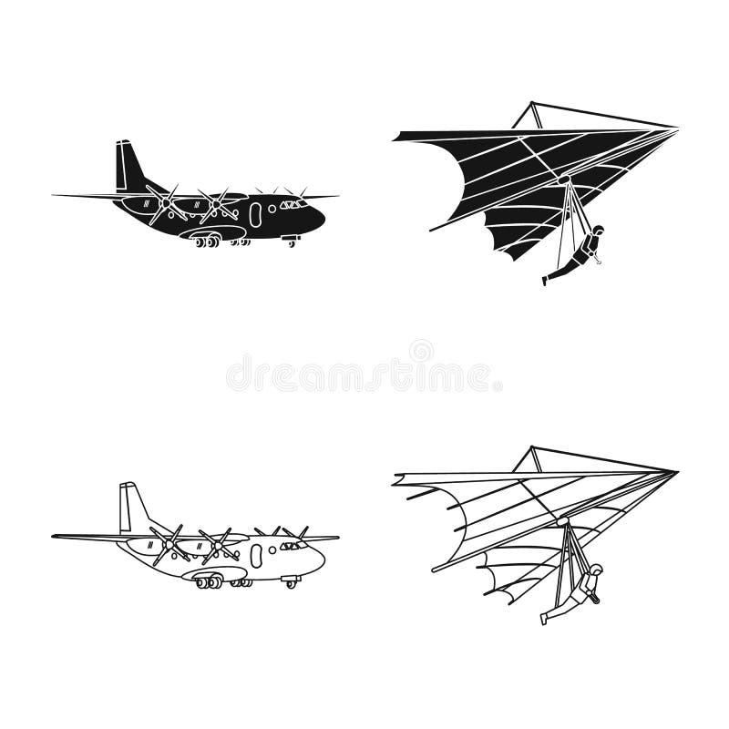 Vectorontwerp van vliegtuig en vervoersymbool Inzameling van vliegtuig en de vectorillustratie van de hemelvoorraad stock illustratie