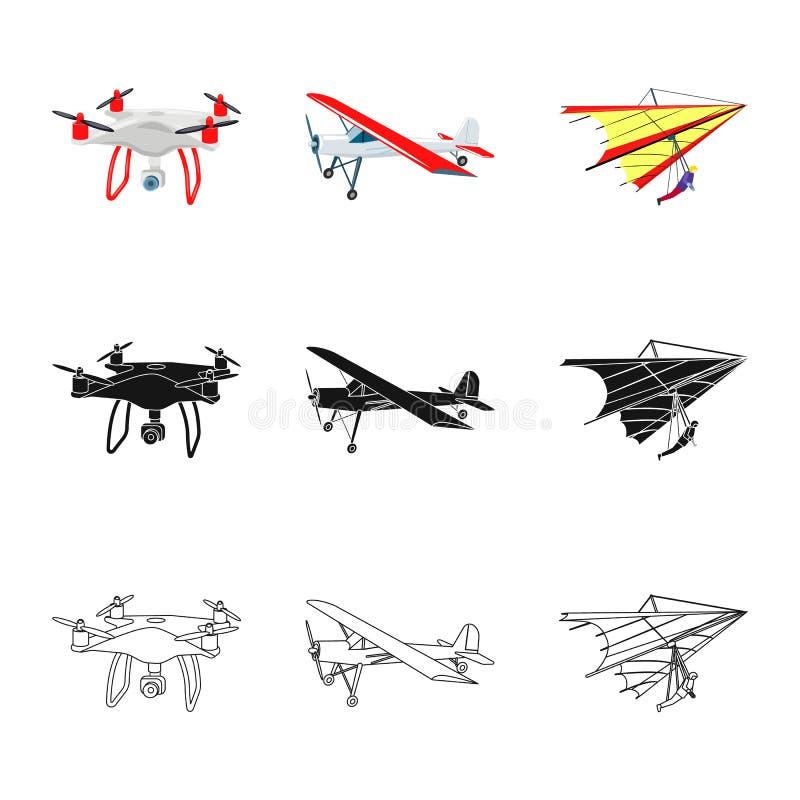 Vectorontwerp van vliegtuig en vervoersymbool Inzameling van vliegtuig en hemel vectorpictogram voor voorraad vector illustratie