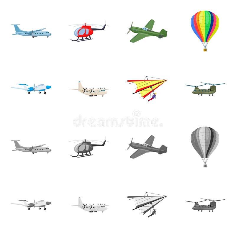 Vectorontwerp van vliegtuig en vervoersymbool Inzameling van vliegtuig en hemelvoorraadsymbool voor Web vector illustratie