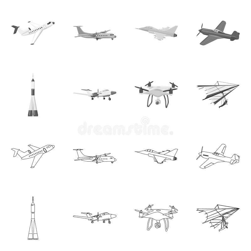 Vectorontwerp van vliegtuig en vervoersymbool Inzameling van vliegtuig en hemelvoorraadsymbool voor Web stock illustratie