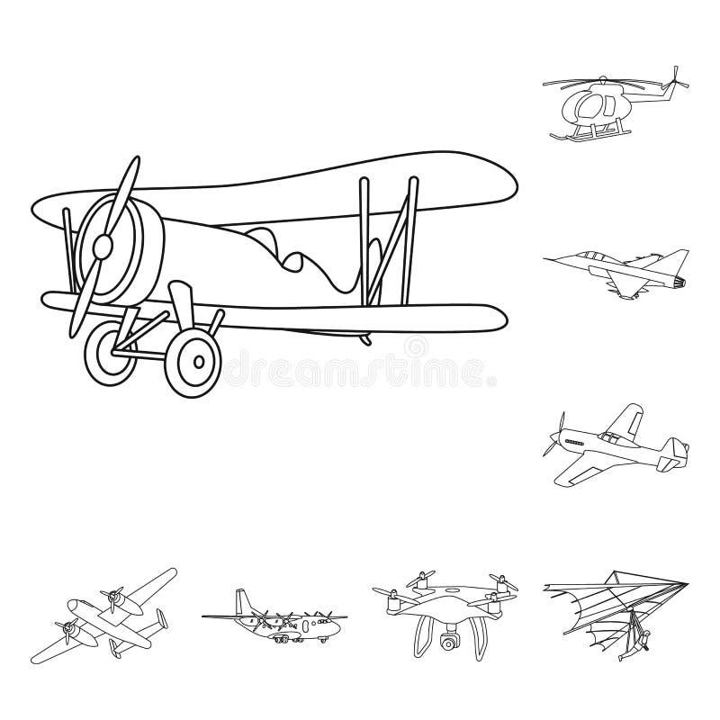 Vectorontwerp van vliegtuig en vervoersymbool Reeks van vliegtuig en de vectorillustratie van de hemelvoorraad vector illustratie