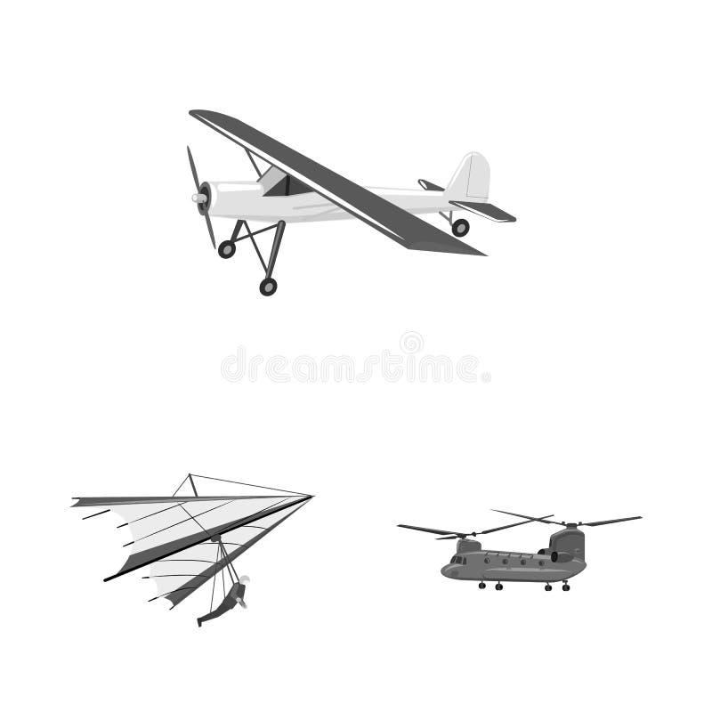 Vectorontwerp van vliegtuig en vervoersymbool Reeks van vliegtuig en hemel vectorpictogram voor voorraad vector illustratie