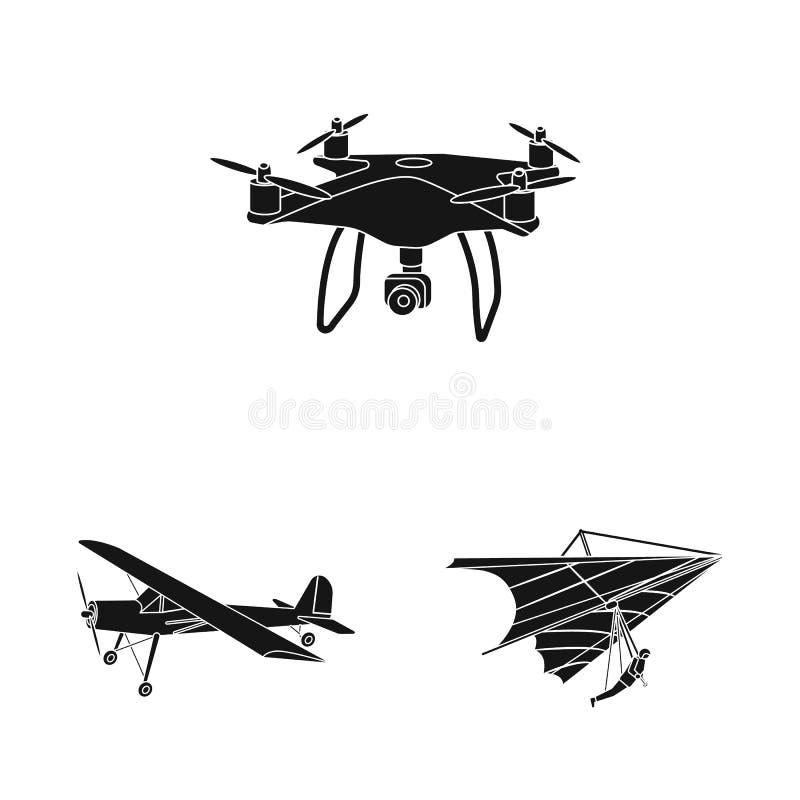 Vectorontwerp van vliegtuig en vervoerteken Inzameling van vliegtuig en hemel vectorpictogram voor voorraad royalty-vrije illustratie