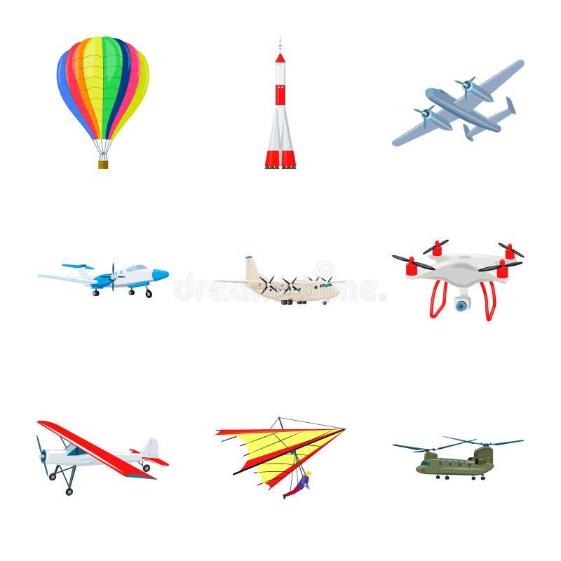 Vectorontwerp van vliegtuig en vervoerteken Inzameling van vliegtuig en hemelvoorraadsymbool voor Web royalty-vrije illustratie