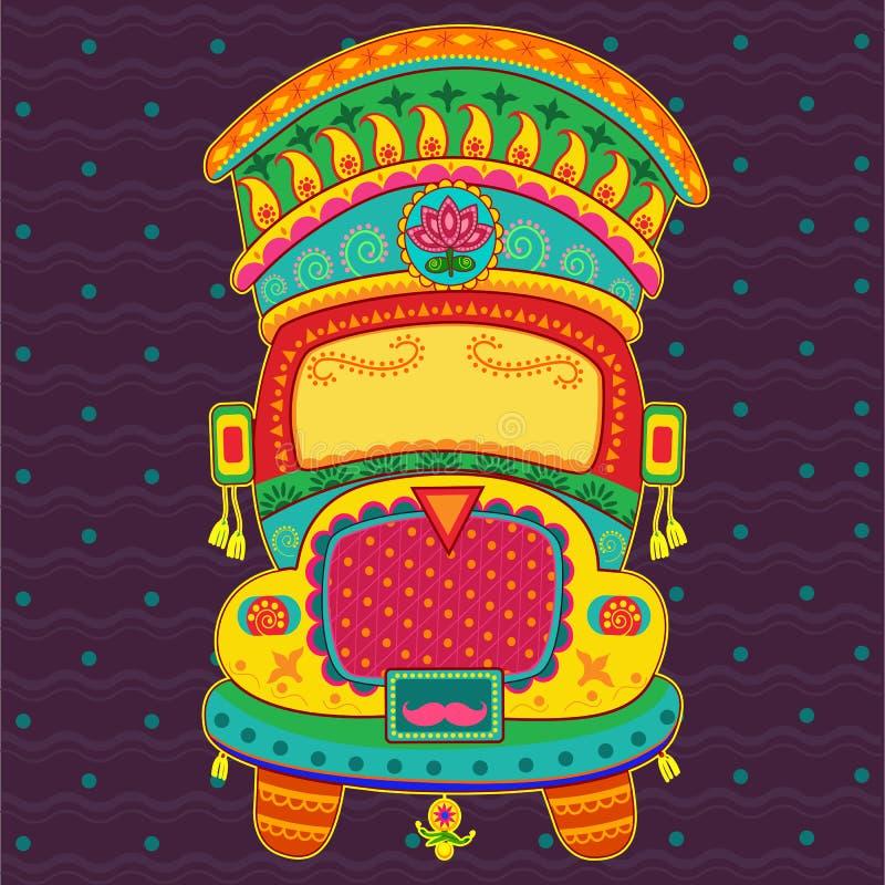 Vectorontwerp van vrachtwagen van India stock afbeeldingen