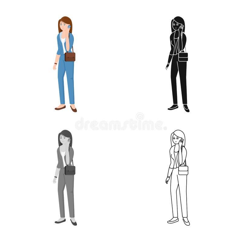 Vectorontwerp van vrouwen en bedrijfspictogram Reeks van vrouw en businessperson voorraad vectorillustratie royalty-vrije illustratie