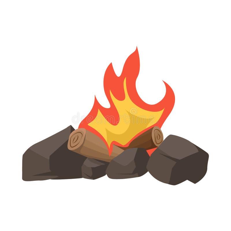Vectorontwerp van vuur en houten pictogram Reeks van vuur en brandhoutvoorraadsymbool voor Web vector illustratie