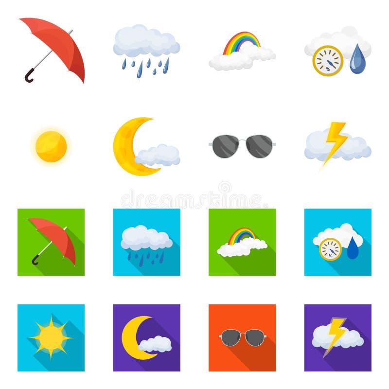 Vectorontwerp van weer en klimaatsymbool Reeks van weer en wolken vectorpictogram voor voorraad royalty-vrije illustratie