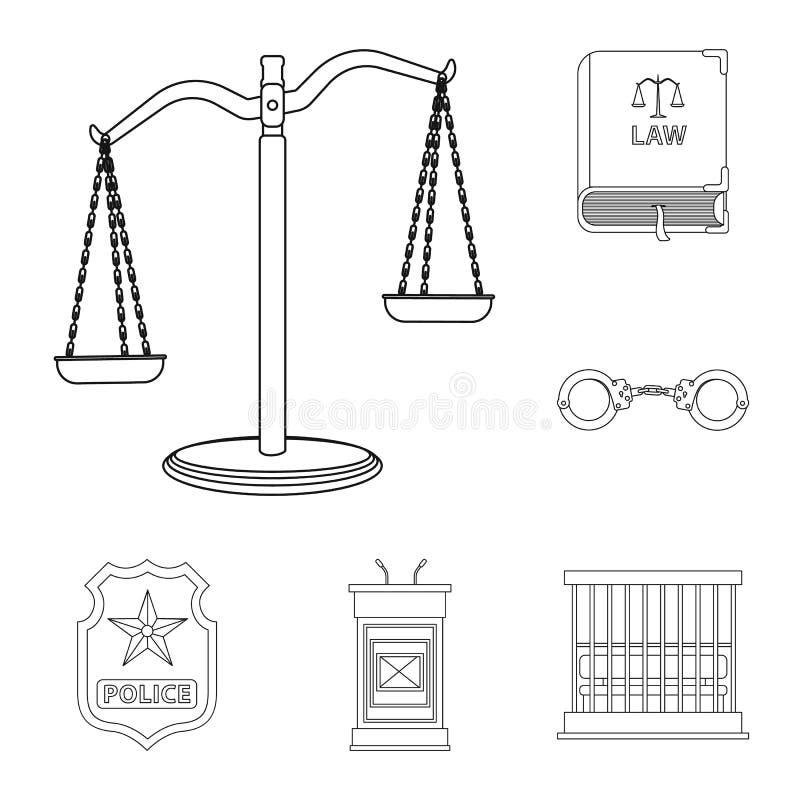 Vectorontwerp van wet en advocaatembleem Reeks van wet en rechtvaardigheidsvoorraadsymbool voor Web royalty-vrije illustratie