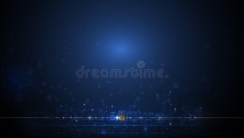 Vectorontwerp voor abstracte technologie, futuristische mededeling, Hallo het digitale concept van technologie op donkerblauwe ac vector illustratie