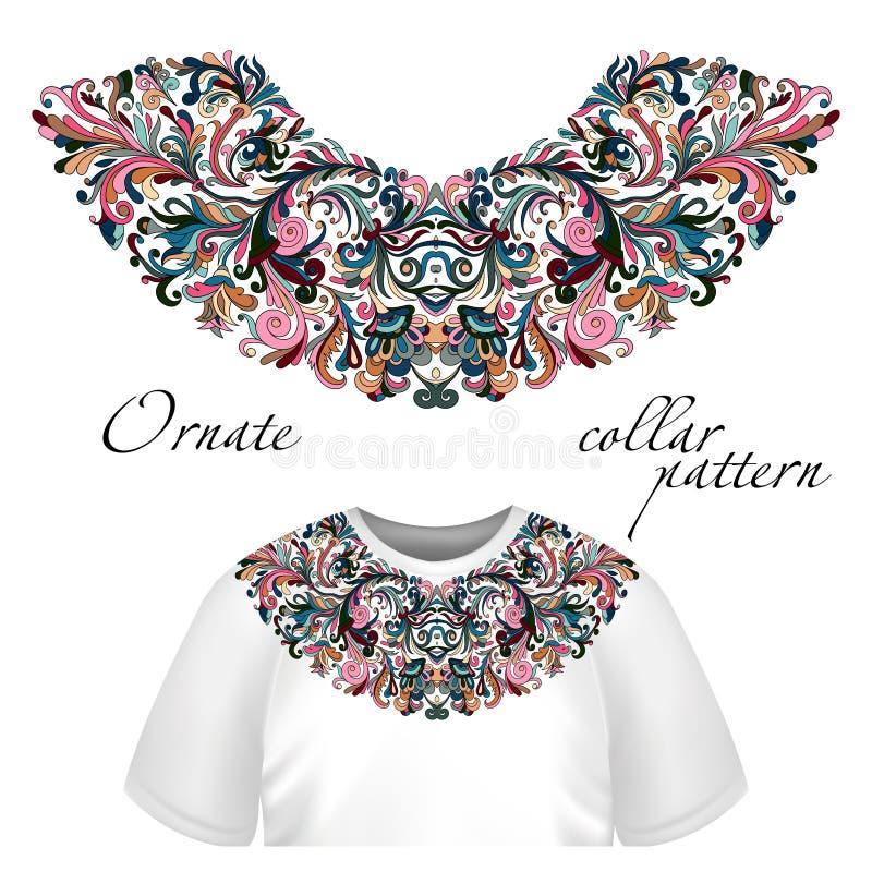 Vectorontwerp voor kraagt-shirts en blouses De kleurrijke etnische lijn van de bloemenhals Borduurwerk voor Manier vector illustratie