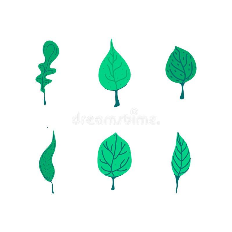 Vectorontwerpelementen geplaatst groene bladinzameling, hand getrokken illustratieillustratie royalty-vrije illustratie