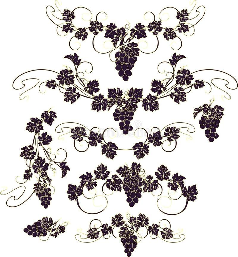 Vectorontwerpelementen in uitstekende stijl met wijnstokken stock foto's