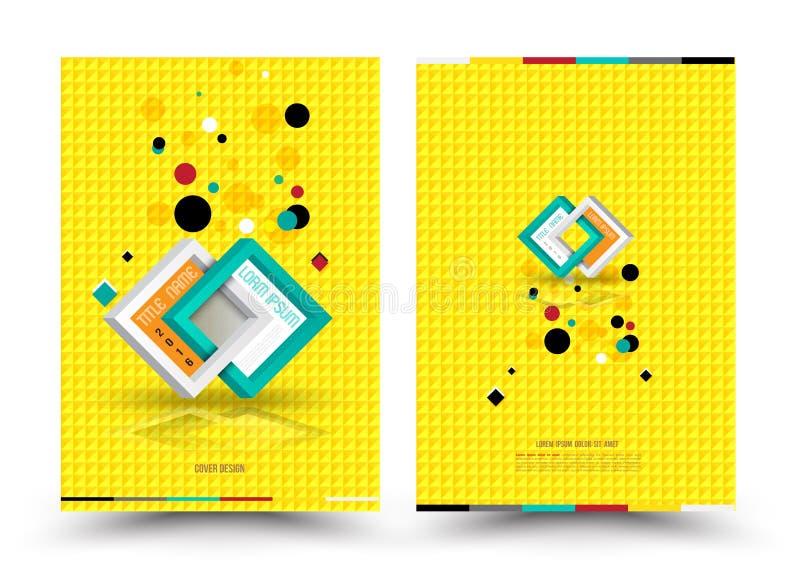 Vectorontwerpmalplaatje voor de Affiche van de de Brochurevlieger van het Dekkingsrapport in A4 grootte royalty-vrije illustratie