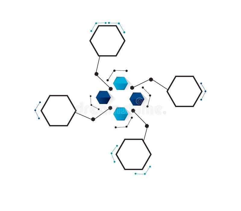Vectorontwerptechnologie, Netwerkachtergrond vector illustratie