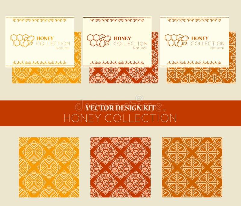Vectorontwerpuitrusting met adreskaartjemalplaatjes en naadloze patronen royalty-vrije illustratie