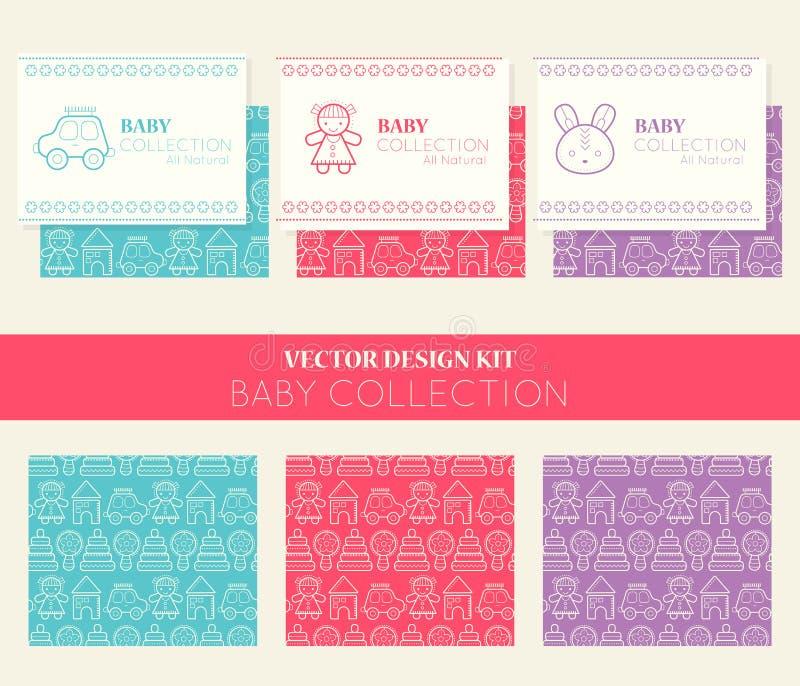 Vectorontwerpuitrusting met adreskaartjemalplaatjes en naadloze patronen, babyinzameling stock illustratie