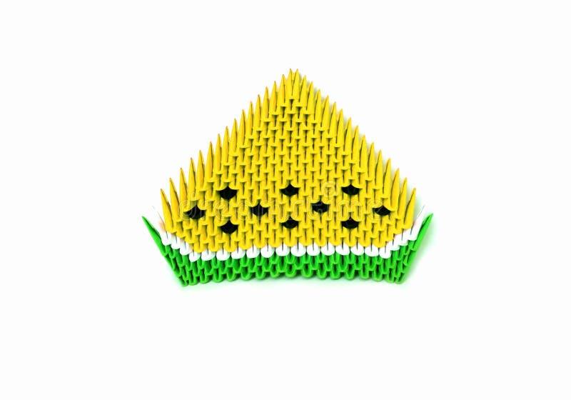 Vectororigamiplak van gele die watermeloenvruchten, 3d origami, van document wordt gemaakt royalty-vrije illustratie