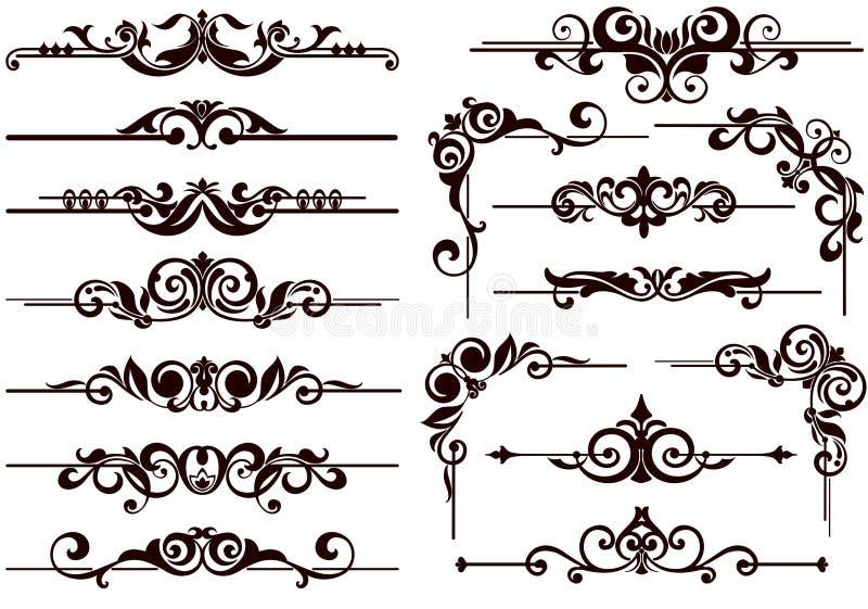 Vectorornamentenkaders, hoeken, grenzen vector illustratie
