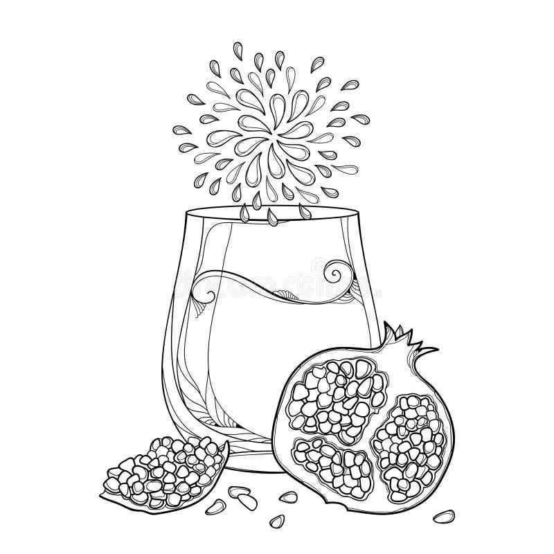 Vectoroverzicht het drinken glas Granaatappel vers sap, half en geheel die fruit en zaad in zwarte op witte achtergrond wordt geï royalty-vrije illustratie