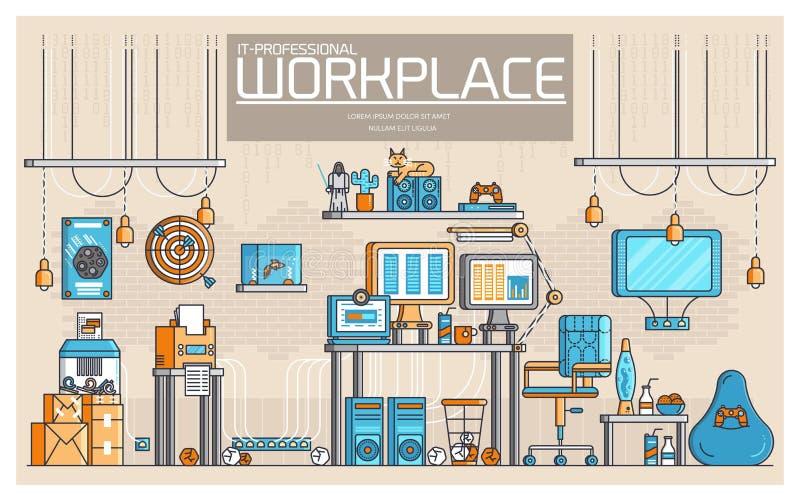Vectoroverzicht het geeks de illustraties van mensenpictogrammen Vlak dun van de de ontwikkelaarwerkplaats van het lijnbureau pro royalty-vrije illustratie