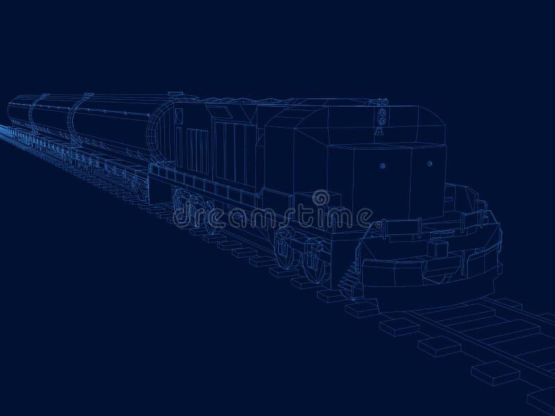 Vectoroverzicht van de trein met de Wagens Contourtrein met wagens van blauwe lijnen op een donkere achtergrond isometrisch vector illustratie