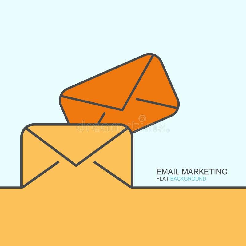 Vectoroverzichts vlak ontwerp van e-mail marketing stock illustratie