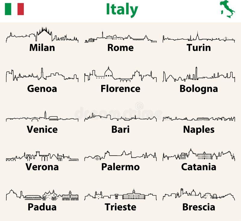 Vectoroverzichtspictogrammen van de stedenhorizonnen van Italië stock illustratie