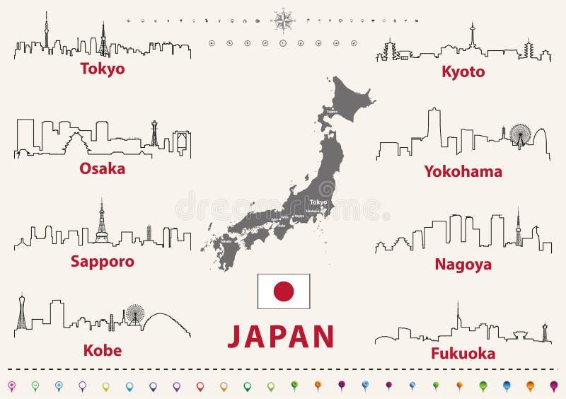 Vectoroverzichtspictogrammen van de stedenhorizonnen van Japan met Japanse vlag en kaart stock illustratie