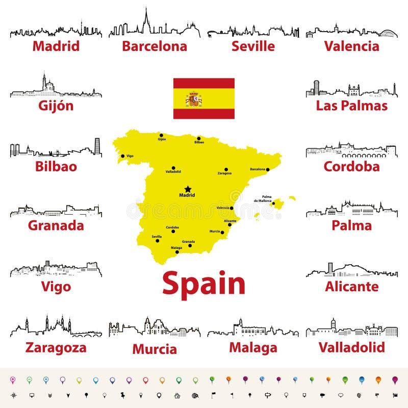 Vectoroverzichtspictogrammen van de stedenhorizonnen van Spanje met kaart en vlag van Spanje vector illustratie