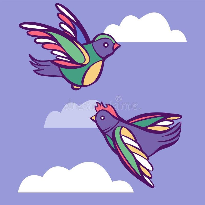 Vectorpaar van leuke beeldverhaalvogels in hemel met wolken stock illustratie