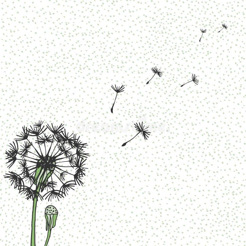 Vectorpaardebloem, handtekening De vliegende slagpaardebloem ontluikt zwarte openluchtdecoratie op een gespikkelde achtergrond stock illustratie