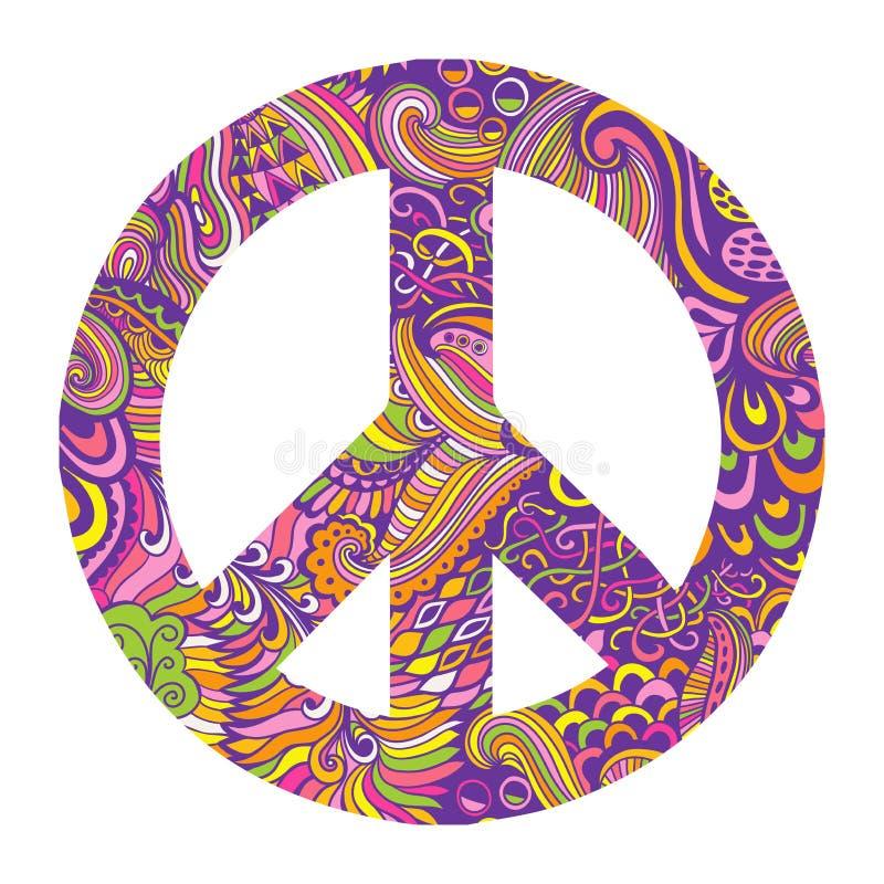 Vectorpacifismeteken De sierachtergrond van de hippiestijl Liefde en vrede, hand-drawn krabbelachtergrond en texturen Kleurrijke  vector illustratie