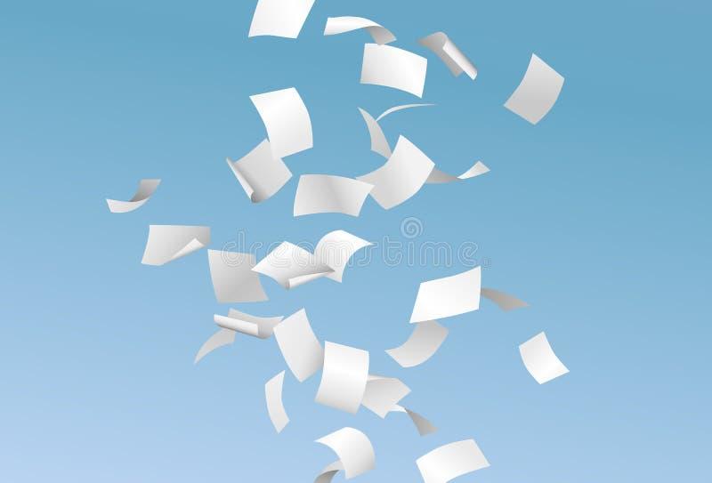 Vectorpagina's of documenten die neer in de wind met blauwe hemel vliegen royalty-vrije illustratie